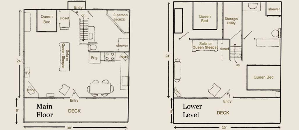 Cabin 5, 6, and 7 Layouts